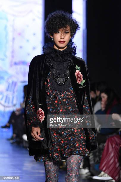 Dilone walks the runway for the Anna Sui collection during New York Fashion Week The Shows at Gallery 1 Skylight Clarkson Sq on February 15 2017 in...