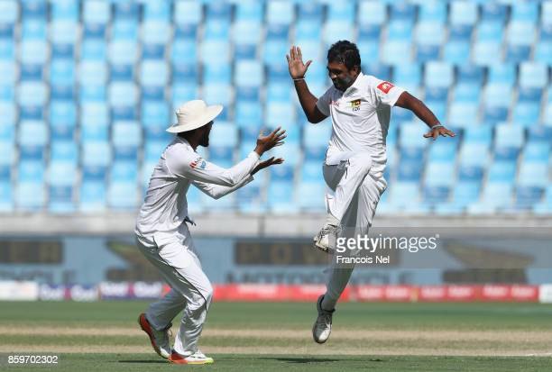 Dilruwan Perera of Sri Lanka celebrates after dismissing Sarfraz Ahme of Pakistan during Day Five of the Second Test between Pakistan and Sri Lanka...