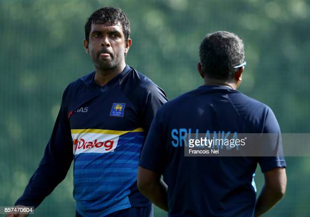 Dilruwan Perera of Sri Lanka looks on during a nets session at ICC Cricket Academy on October 4 2017 in Dubai United Arab Emirates