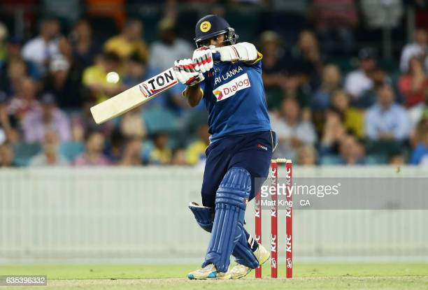 Dilshan Munaweera of Sri Lanka bats during the T20 warm up match between the Australian PM's XI and Sri Lanka at Manuka Oval on February 15 2017 in...
