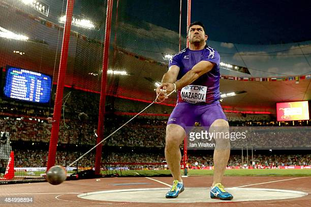 Dilshod Nazarov of Tajikistan competes in the Men's Hammer final during day two of the 15th IAAF World Athletics Championships Beijing 2015 at...