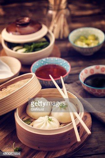 Dim Sum Dumplings Freshly Steamed in a Bamboo Steamer