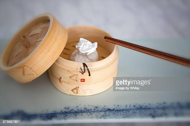 Dim sum in bamboo steamer