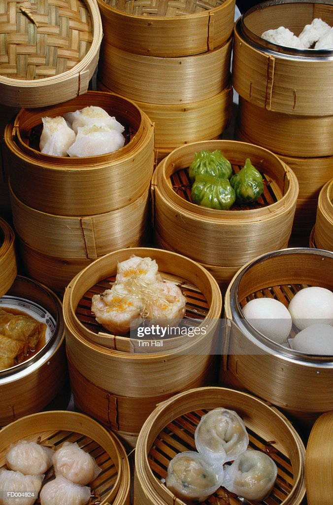 Dim Sum in Bamboo Steamers : Stock Photo