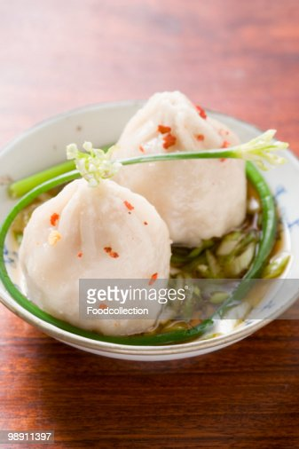 Dim sum with spicy sauce. : Stock Photo