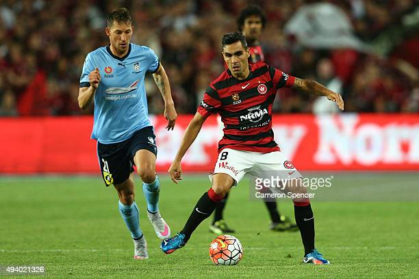 Dimas Delgado of the Wanderers controls the ball during the round three ALeague match between Sydney FC and Western Sydney Wanderers at Allianz...