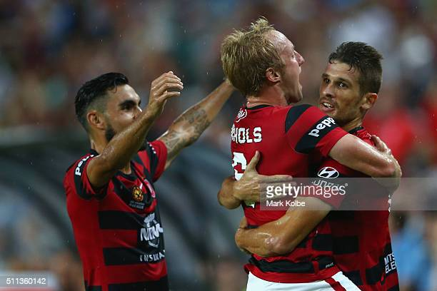 Dimas Mitch Nichols and Dario Vidosic of the Wanderers celebrate Dario Vidosic scoring a goal during the round 20 ALeague match between Sydney FC and...