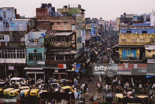 Dim-colored landscape of the crowded city of New Delhi