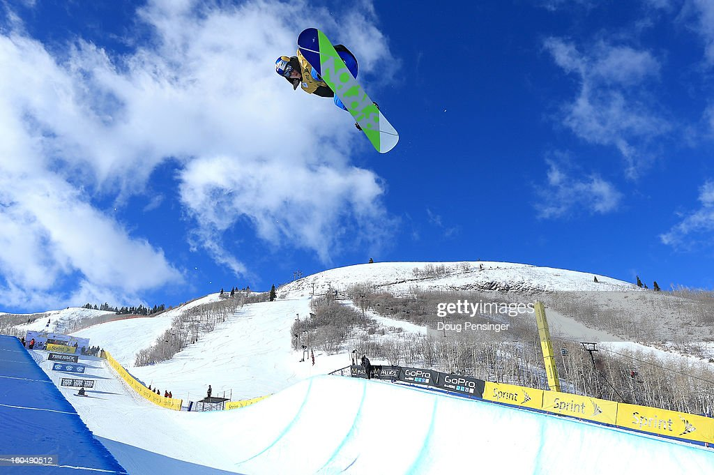 Dimi de Jong of the Netherlands competes in the FIS Snowboard Halfpipe World Cup at the Sprint U.S. Grand Prix at Park City Mountain on February 1, 2013 in Park City, Utah.