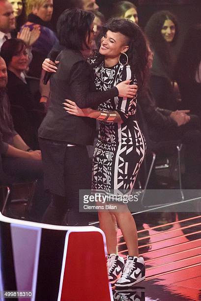 Dimi Rompos and Stefanie Kloss are seen on stage during the The Voice Of Germany 1st Live Show on December 3 2015 in Berlin Germany