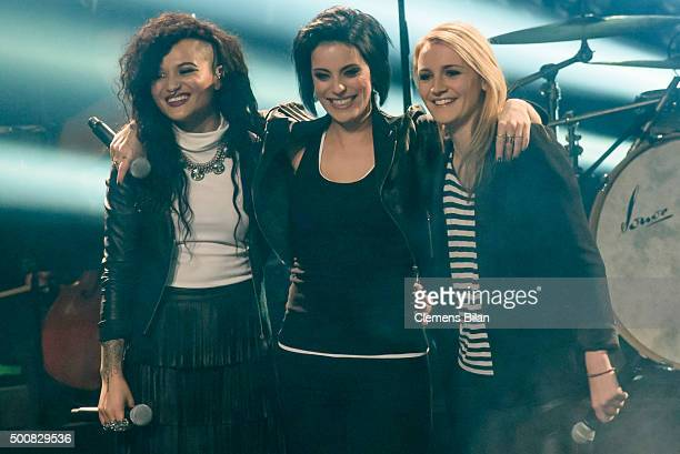 Dimi Rompos Stefanie Kloss and Isabel Ment are seen on stage during the 'The Voice Of Germany Semi Final' on December 10 2015 in Berlin Germany