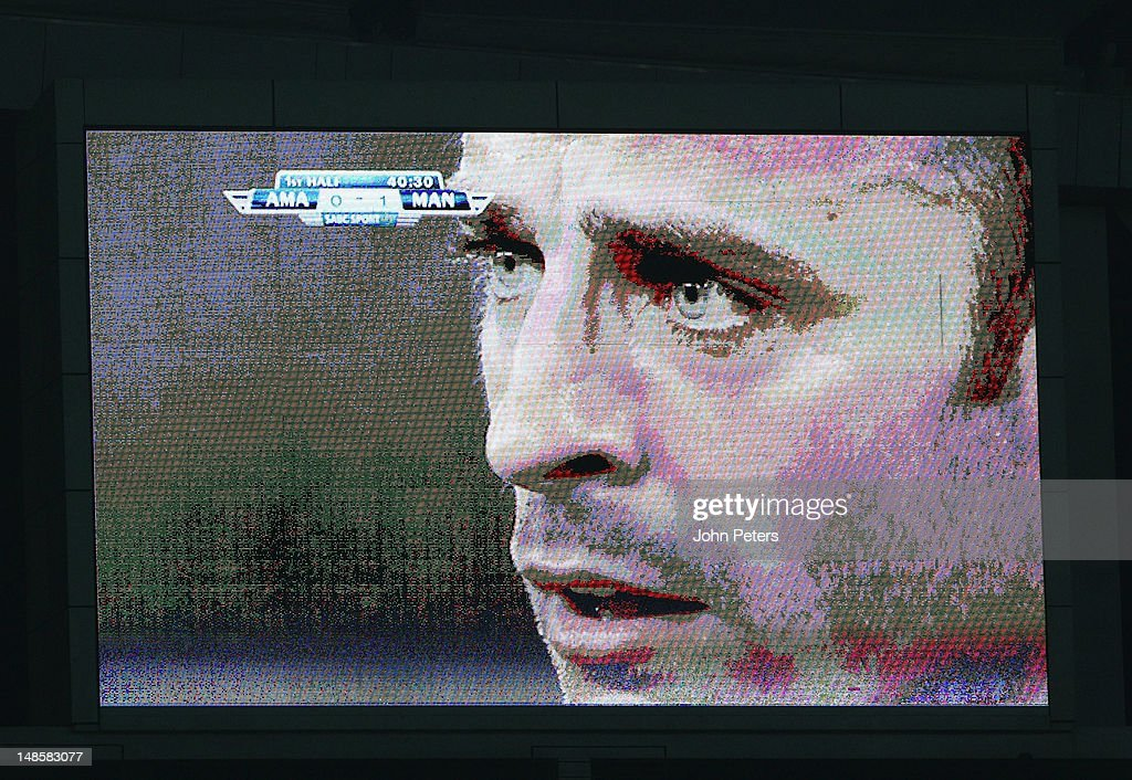 Dimitar Berbatov of Manchester United appears on the big screen during the pre-season friendly between AmaZulu FC and Manchester United at Moses Mabhida Stadium on July 18, 2012 in Durban, South Africa.