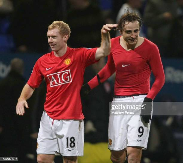 Dimitar Berbatov of Manchester United celebrates at the end of the Barclays Premier League match between Bolton Wanderers and Manchester United at...