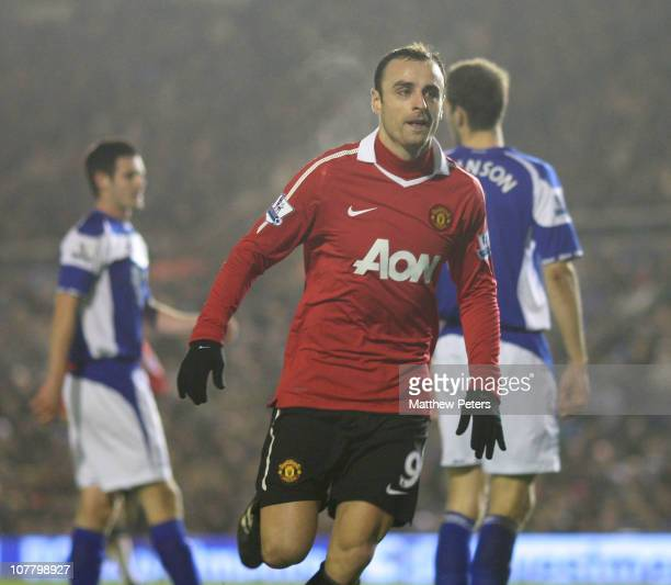 Dimitar Berbatov of Manchester United celebrates scoring their first goal during the Barclays Premier League match between Birmingham City and...