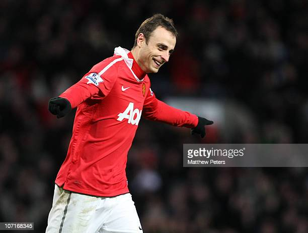 Dimitar Berbatov of Manchester United celebrates scoring their fourth goal during the Barclays Premier League match between Manchester United and...