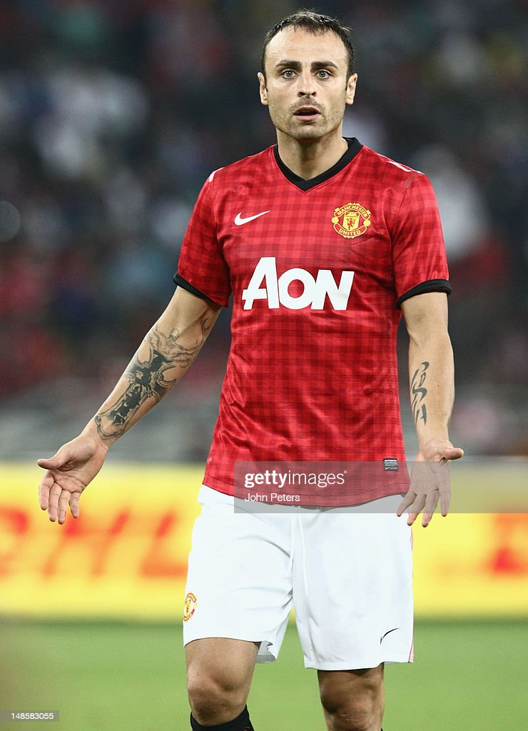 Dimitar Berbatov of Manchester United in action during the pre-season friendly between AmaZulu FC and Manchester United at Moses Mabhida Stadium on July 18, 2012 in Durban, South Africa.