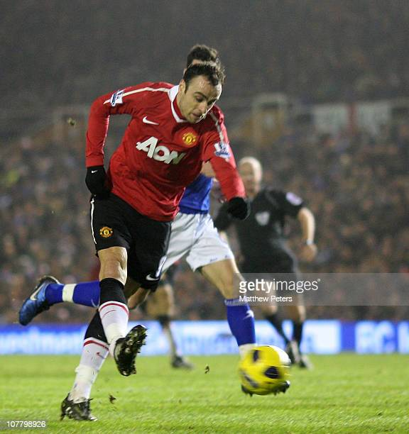 Dimitar Berbatov of Manchester United scores their first goal during the Barclays Premier League match between Birmingham City and Manchester United...