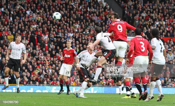 Dimitar Berbatov of Manchester United scores their third goal during the Barclays Premier League match between Manchester United and Liverpool at Old...