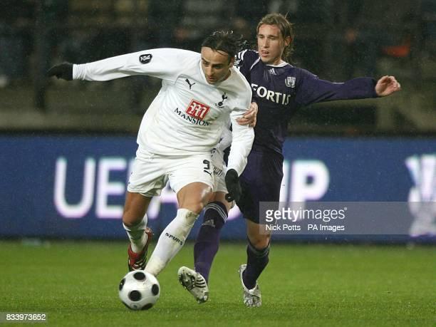 Dimitar Berbatov Tottenham Hotspur and Lucas Biglia Anderlecht battle for the ball