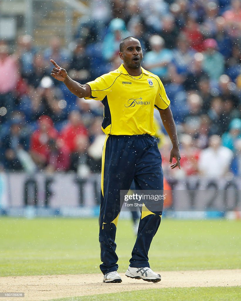 Dimiti Mascarenhas of Hampshire celebrates taking the wicket of Richard Levi of Somerset during the Friends Life T20 Semi Final match between Hampshire and Somerset at SWALEC Stadium on August 25, 2012 in Cardiff, Wales.