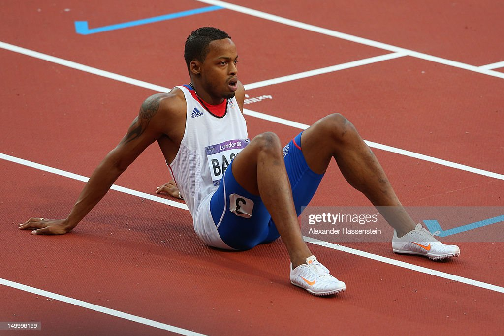 <a gi-track='captionPersonalityLinkClicked' href=/galleries/search?phrase=Dimitri+Bascou&family=editorial&specificpeople=5949069 ng-click='$event.stopPropagation()'>Dimitri Bascou</a> of France competes in the Men's 110m Hurdles Semifinals on Day 12 of the London 2012 Olympic Games at Olympic Stadium on August 8, 2012 in London, England.