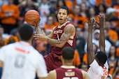 Dimitri Batten of the Boston College Eagles jumps to save a ball from going out of bounds during the first half against the Syracuse Orange on...