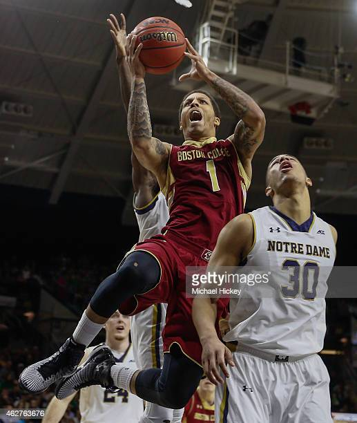 Dimitri Batten of the Boston College Eagles shoots the ball over Zach Auguste of the Notre Dame Fighting Irish at Purcell Pavilion on February 4 2015...
