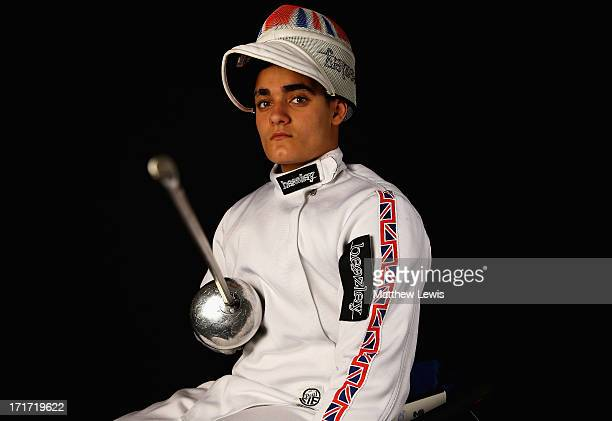 Dimitri Coutya of Great Britain Fencing team poses during a Beazley British Fencing Profiling Day on June 26 2013 in London England