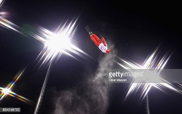Dimitri Isler of Switzerland in action during mens aerials traing prior to the FIS Freestyle World Cup at Bokwang Snow Park on February 8 2017 in...
