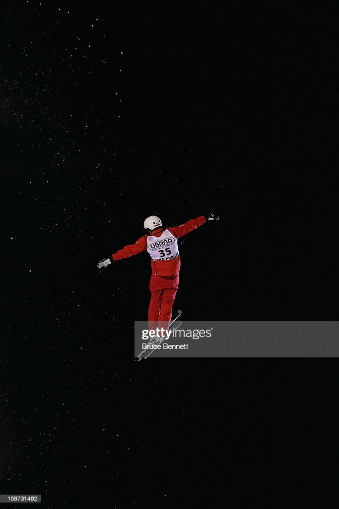 Dimitri Isler #35 of Switzerland jumps in the USANA Freestyle World Cup aerial competition at the Lake Placid Olympic Jumping Complex on January 19, 2013 in Lake Placid, New York.