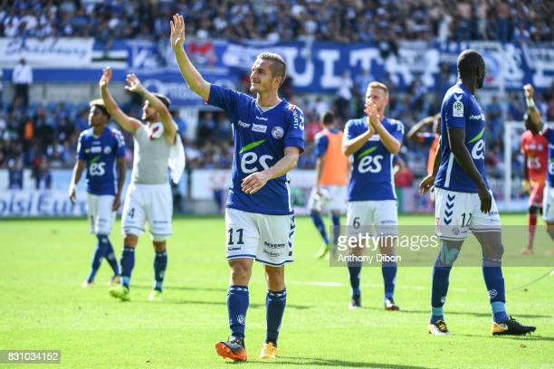 Dimitri Lienard of Strasbourg celebrates the victory during the Ligue 1 match between Racing Club Strasbourg and Lille OSC at Stade de la Meinau on...