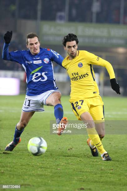 Dimitri Lienard of Strasbourg Javier Pastore of PSG during the French Ligue 1 match between RC Strasbourg Alsace and Paris Saint Germain at Stade de...