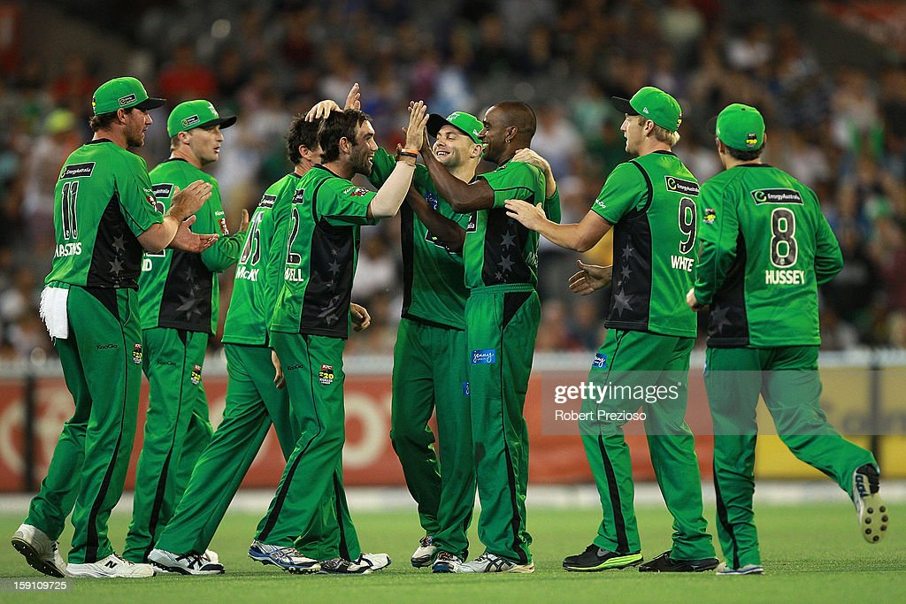 Dimitri Mascarenhas of the Stars celebrates the wicket of Chris Gayle of the Thunder during the Big Bash League match between the Melbourne Stars and the Sydney Thunder at Melbourne Cricket Ground on January 8, 2013 in Melbourne, Australia.
