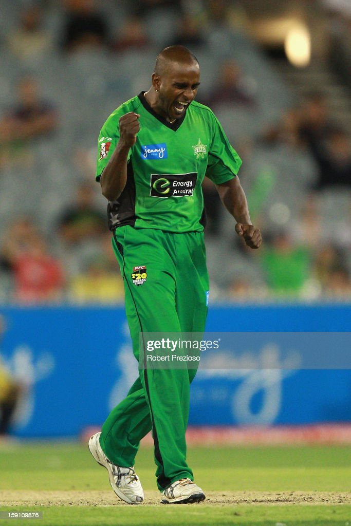 Dimitri Mascarenhas of the Stars celebrates the wicket of Ryan Carters of the Thunder during the Big Bash League match between the Melbourne Stars and the Sydney Thunder at Melbourne Cricket Ground on January 8, 2013 in Melbourne, Australia.