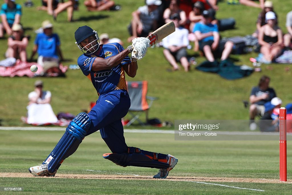 Dimitri Mascarenhas Otago hits out during the Otago Voltz V Wellington Firebirds HRV Cup match at the Queenstown Events Centre Queenstown New Zealand...