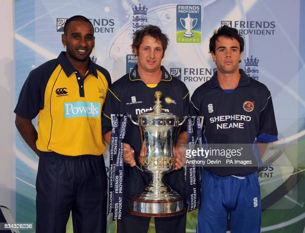 Dimitri Mascarenhas Phil Mustard and Mick Pettini pose with the Friends Provident trophy as the England and Wales Cricket Board hold the launch of...