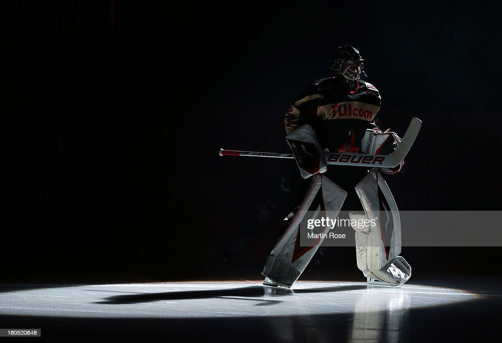Dimitri Paetzold, goaltender of Hannover skates up the ice before the DEL match between Hannover Scorpions and Duesseldorfer EG at TUI Arena on February 1, 2013 in Hanover, Germany.