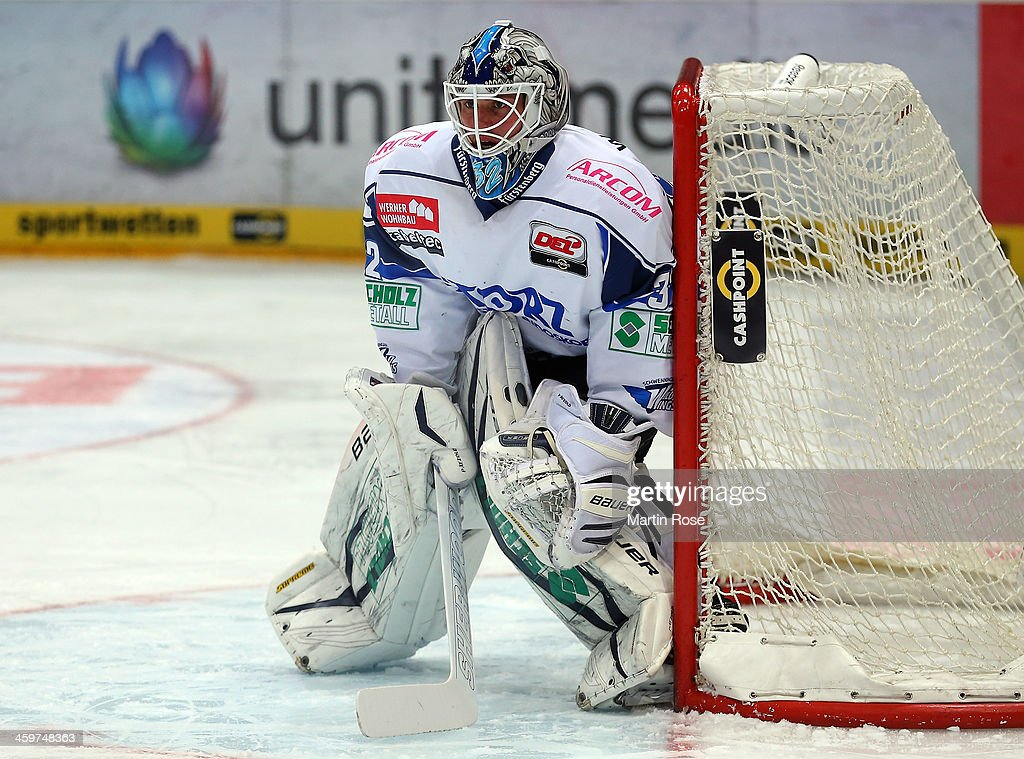 Dimitri Paetzold goaltender of Schwenningen skates against the Koelner Haie during the DEL match between Koelner Haie and Schwenninger Wild Wings at...