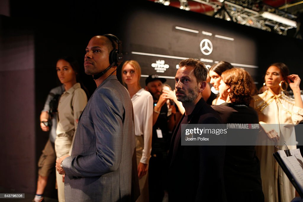 Dimitri Panagiotopoulos is seen backstage ahead of the Dimitri show during the Mercedes-Benz Fashion Week Berlin Spring/Summer 2017 at Erika Hess Eisstadion on June 30, 2016 in Berlin, Germany.
