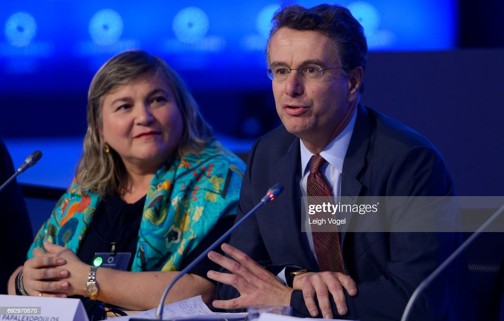 Dimitri Papalexopoulous, Chief Executive Officer, Titan Cement Company SA, participates in a discussion during the Concordia Europe Summit on June 6, 2017 in Athens, Greece.