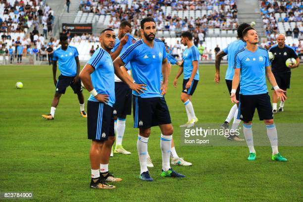Dimitri Payet and Adil Rami of Marseille before the UEFA Europa League qualifying match between Marseille and Ostende at Stade Velodrome on July 27...