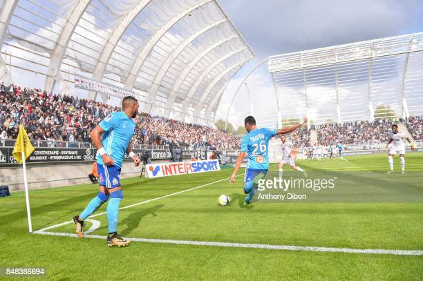 Dimitri Payet and Florian Thauvin of Marseille during the Ligue 1 match between Amiens SC and Olympique Marseille at Stade de la Licorne on September...