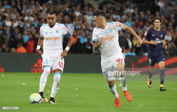 Dimitri Payet and Lucas Ocampos of Olympique Marseille in action during the Ligue 1 match between Olympique Marseille and Paris Saint Germain at...