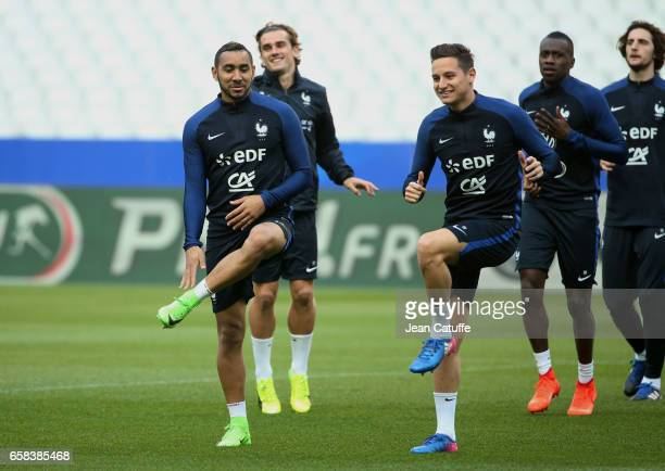 Dimitri Payet Florian Thauvin of France during the training session on the eve of the international friendly match between France and Spain at Stade...