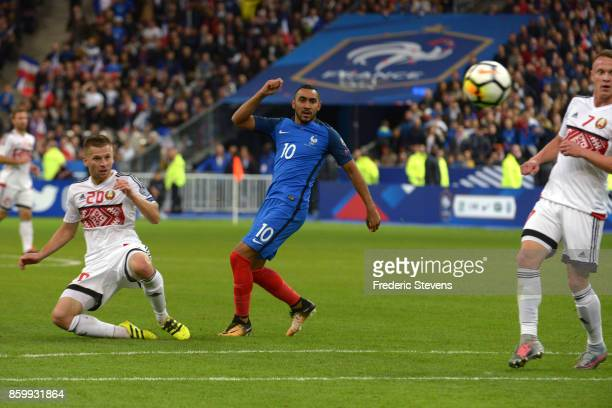 Dimitri Payet forward of France Football team during the FIFA 2018 World Cup Qualifier between France and Belarus at Stade de France on October 10...