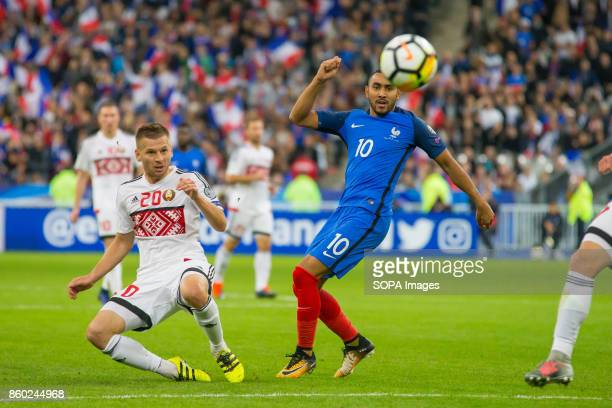 Dimitri Payet in action during the World Cup Group A qualifying soccer match between France and Belarus at Stade de France
