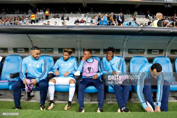 Dimitri Payet Jordan Amavi Clinton Njie Zambo Anguissa Kostas Mitroglou of Marseille during the Europa League match between Olympique de Marseille...