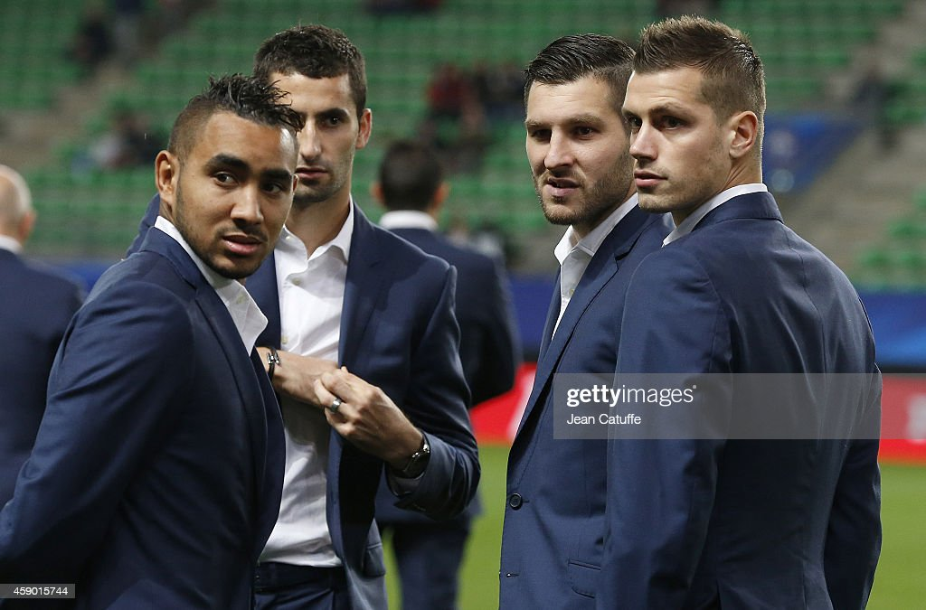 <a gi-track='captionPersonalityLinkClicked' href=/galleries/search?phrase=Dimitri+Payet&family=editorial&specificpeople=2137146 ng-click='$event.stopPropagation()'>Dimitri Payet</a>, <a gi-track='captionPersonalityLinkClicked' href=/galleries/search?phrase=Maxime+Gonalons&family=editorial&specificpeople=6256905 ng-click='$event.stopPropagation()'>Maxime Gonalons</a>, Andre-Pierre Gignac, <a gi-track='captionPersonalityLinkClicked' href=/galleries/search?phrase=Morgan+Schneiderlin&family=editorial&specificpeople=4191360 ng-click='$event.stopPropagation()'>Morgan Schneiderlin</a> of France chat before the international friendly match between France and Albania at Stade de la Route de Lorient stadium on November 14, 2014 in Rennes, France.