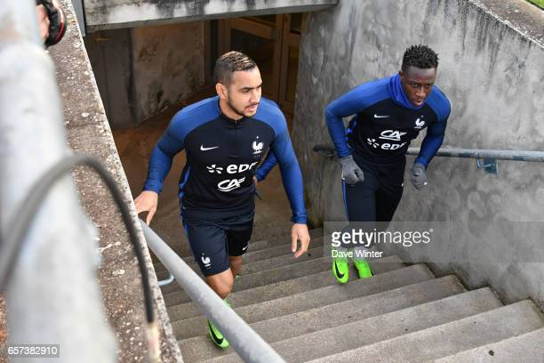 Dimitri Payet of France and Benjamin Mendy of France during the training session before the FIFA World Cup 2018 qualifying match between Luxembourg...