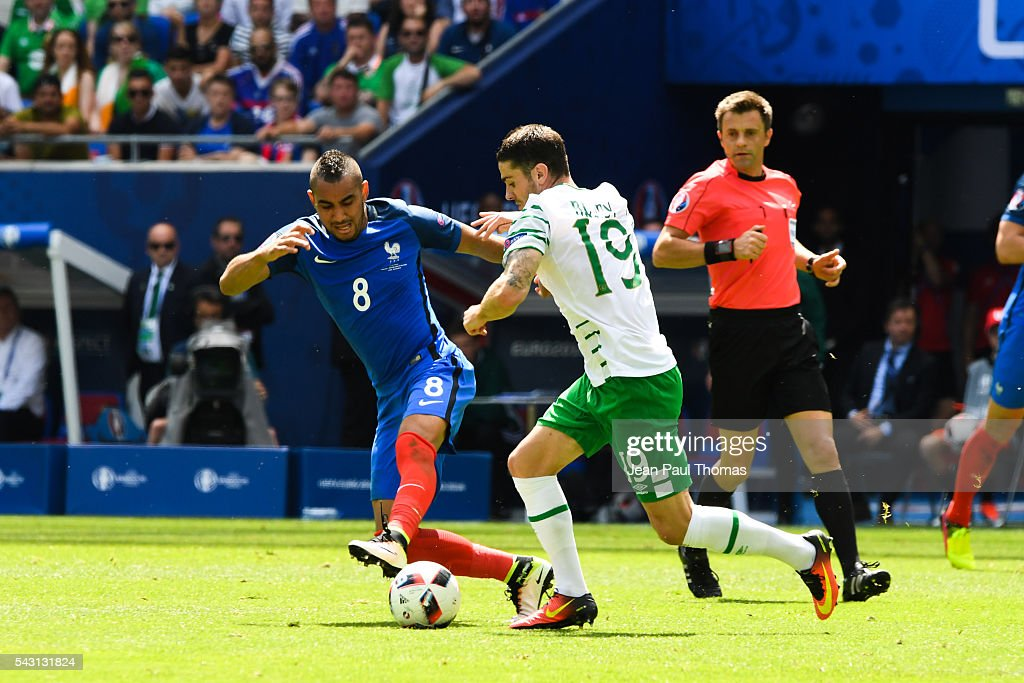 Dimitri Payet of France and Jonathan Brady of Ireland during the European Championship match Round of 16 between France and Republic of Ireland at Stade des Lumieres on June 26, 2016 in Lyon, France.